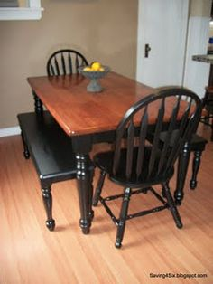 I am going to do something like this with our kitchen set. I'd will refinish the top, Java, and paint the table legs and chairs black.