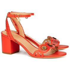 Tory Burch Marguerite Perforated Sandals ($325) ❤ liked on Polyvore featuring shoes, sandals, mid-heel sandals, vintage brogues, beaded sandals, vintage sandals and perforated shoes