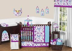 Purple Turquoise White Girl Baby Bedding Crib Set JoJo Designs