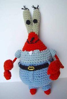 The whole Spongebob crew: Gary, Sandy, Plankton, etc. - CROCHET - I made Plankton and Gary yesterday. Crochet Beanie, Cute Crochet, Crochet Dolls, Knit Crochet, Minion Crochet Patterns, Quick Crochet Patterns, Mr Krabs, Crochet Dragon, Crochet Decoration