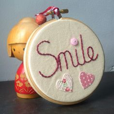 SMILE embroidery hoop art