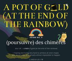 English idiom: A pot of gold (at the end of the rainbow) 🌈 Cette expression vient du folklore irlandais. 🐑 C'est donc un des symboles forts de la Saint Patrick que l'on a fêtée hier ! ☘️ Vous trouverez plus d'infos (fiches vocabulaire, culture...) à ce sujet en cliquant sur l'image. #EnglishIdioms #Idioms #Anglais #EnAvantAnglais #AméliorerSonAnglais #VocabulaireAnglais #ApprendreAnglais LinguiLD /Idioms/ (Design by LinguiLD)