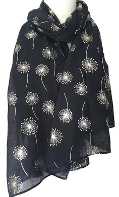 6c6bc1501 Large navy blue scarf with a sparkly silver Dandelion floral print The scarf  is long wide