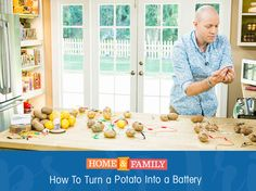 How to turn a potato into a battery - Potatoes, believe it or not, can act as a power source by using Galvanized nails, Alligator clips, LED lights, Potatoes & Pennies!  Catch Home and Family weekdays at 10/9c on Hallmark Channel!