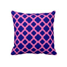 Hot Pink and Navy Blue Quatrefoil Pattern Pillow
