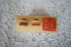 Round She Goes - Market Place - Mini Burger Polymer Clay charm jewelry earrings stud gift