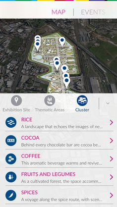 Expo 2014, Map view, filters, iPhone