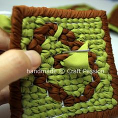 Locker Hook Coasters free pattern, with tutorial on how to finish off the project with a nice backing lining sewn to the projects.