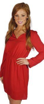 red-¾-sleeve-dress