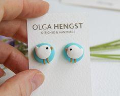 Little Bird Earrings stud earrings tiny jewelry birds lover gift idea birds earrings fimo polymer clay sea mew
