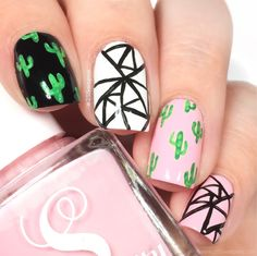 Abstract nails + Cacti - 25 Sweetpeas