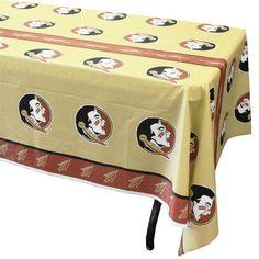 Garnet and Gold Vinyl Tablecloth with New Seminole Head #11-661 garnetandgold.com