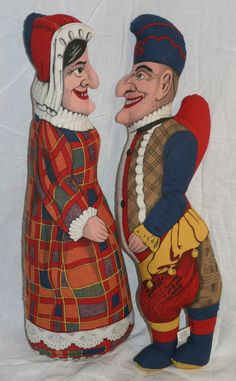 Vintage Cloth Stuffed Punch and Judy Dolls