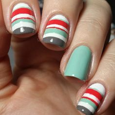 Nail art with tape.