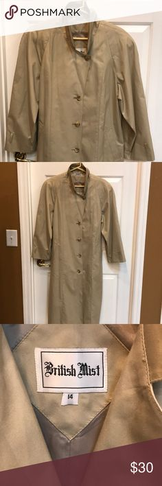 """Classic long tan woman's size 14 spring coat Beautiful and classic style coat. Perfect for spring. It's lined but does not have any liners. Has a belt. Missing the """"belts """" on the full length sleeves. Runs generous.. Made by British Mist. Excellent condition from a non smoking smoke free home British Mist Jackets & Coats Trench Coats"""