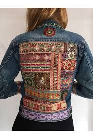 Resultado de imagen de chaqueta vaquera etnica Denim Fashion, Boho Fashion, Afghan Clothes, Embroidered Jacket, Denim Jackets, Comfortable Outfits, Refashion, Custom Clothes, Couture