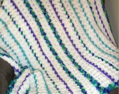 Crochet Afghan: Crochet Wildflower Blue, Violet, Teal, Green and Cream Lap, Throw or Wheelchair Blanket with free US Shipping by DRCrafts