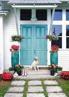 Blue door with Benjamin® Sky Chief light fixture based on original vintage barn light designs. Front Door Colors, Painted Doors, House Exterior, Barn Lighting, Front Door, Entry Doors, Front Door Entrance, Curb Appeal, Doors