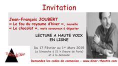 Théâtre - Jean-François JOUBERT à haute voix en ligne @ Lecture à haute voix en ligne - PARIS, 75000