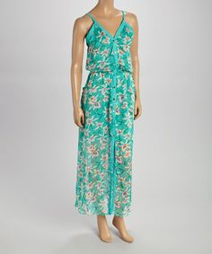 Look what I found on #zulily! Green Floral Button Sleeveless Maxi Dress by Peppe Peluso Studio #zulilyfinds