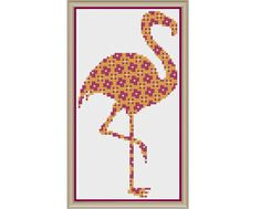 Floral Flamingo in Fuchsia Fulvous and Flax - Counted Cross Stitch Pattern (X-Stitch PDF) (5.00 USD) by HornswoggleStore