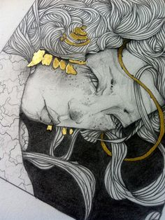 Alchemy original graphite and gold leaf by ThoughtsOfShades