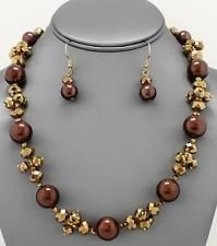 Multi Brown Glass Faux Pearl Glass Faceted Bead Necklace Earring Set