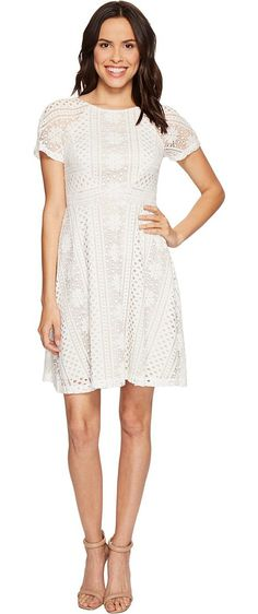 Adrianna Papell Verona Striped Lace Spliced Fit and Flare Dress (Ivory/Chamois) Women's Dress - Adrianna Papell, Verona Striped Lace Spliced Fit and Flare Dress, AP1D100833-100, Apparel Top Dress, Dress, Top, Apparel, Clothes Clothing, Gift - Outfit Ideas And Street Style 2017