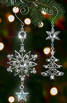 Christmas Ornament Set - Holiday Snowflake and Tree with Crystals - Metal - 6 & 4-1/2 Inch