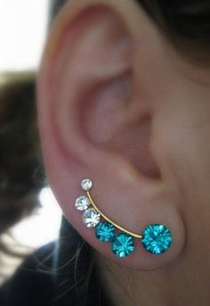 Ear Sweep Wrap - Cuff Earring with Swarovsky - Gold Filled - Blue | blucky - Jewelry on ArtFire