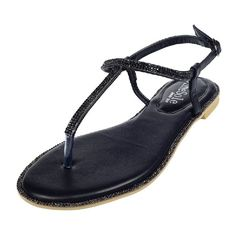 SheSole Womens Pu Leather Flat Sandals Rhinestone Beach Wedding Evening Dress Shoes Black US 9