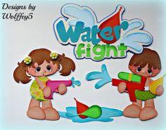 ELITE4U SUMMER BOY GIRL paper piecing premade scrapbook page album mat  WOLFFEY5