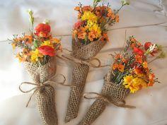 Autumn Burlap Flower Girl Posies...colorful...Set of 3