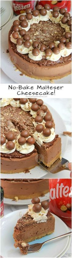 No-Bake Malteser Cheesecake! ❤️ Delicious & Chocolatey Malteser Cheesecake … No-Bake Malteser Cheesecake! ❤️ Delicious & Chocolatey Malteser Cheesecake – Malt Biscuit Base, Chocolate Malt Cheesecake, Malteser Spread, Sweetened Cream, and Maltesers! Beaux Desserts, No Bake Desserts, Just Desserts, Delicious Desserts, Dessert Recipes, Yummy Food, Pudding Desserts, Delicious Chocolate, Chocolate Crunch