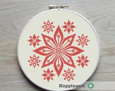 modern cross stitch pattern traditional flower by Happinesst