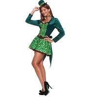 Wear a Sexy Leprechaun St. Patrick's Day Costume to your St. Patrick's Day party or parade. This sexy women's costume features a green tailcoat, shirt, hat headband, and bowtie for St. Irish Costumes, St Patrick's Day Costumes, Cool Costumes, Adult Costumes, Ladies Costumes, Halloween Costume Shop, Halloween Costumes For Kids, Leprechaun Costume, Ladies Fancy Dress