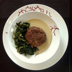 beef patties with greens in egg-lemon sauce