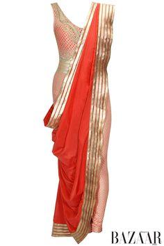 Soft pink paisley work lace jumpsuit with dark pink long drape by Rabani & Rakha. Shop now: http://www.perniaspopupshop.com/designers/rabani-rakha #jumpsuit #rabani&rakha #shopnow #perniaspopupshop