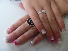 White and pink french tips with gel polish