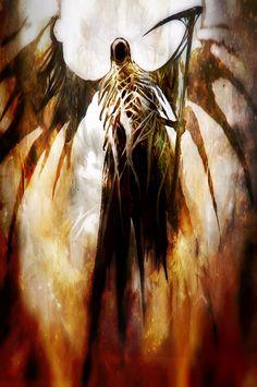 Reaper by Ramses Melendeze Dark Fantasy Art, Dark Art, Reaper Tattoo, Angels And Demons, The Grim, Fantasy Landscape, Grim Reaper, Fantasy Creatures, Magical Creatures