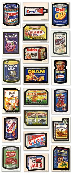 Wacky Packages by Topps--ALL of my folders were COVERED in these stickers... I still love the corny-ness of the jokes. In fact, they have been an inspiration  in some of the projects I make today! (the ones that call for corny titles, that is!)