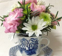 Teacup & Saucer with Fresh Flowers. Great personalised gift for Ladies of all ages