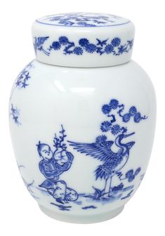 Vintage Blue and White Feng Shui Ginger Jar on Chairish.com