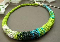 plastic bag crochet necklace in progress by Beadhelly, via Flickr