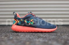 Shoes:    The base shoe used is the Nike Rosherun Bright Mango/Magnet Grey.    We can customize on any base of Nike Rosherun base youd like. You are