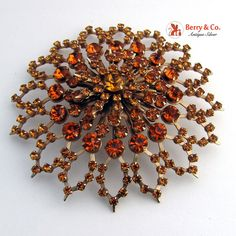 Vintage Rhinestone Brooch Rich Caramel and Citrine Color Rhinestones Gold Toned.