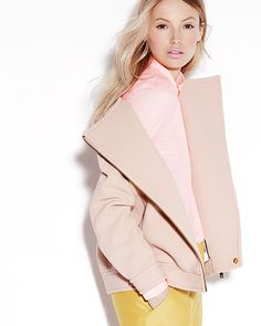 Great contrast between the coat and top, especially with the yellow marigold pants! :: pastel pink ::