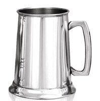 1 Pint Double Lines Pewter Tankard With Glass Base