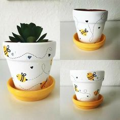 Small planter for plants like succulents. Flower Pot Art, Small Flower Pots, Flower Pot Design, Bee On Flower, Flower Pot Crafts, Clay Pot Crafts, Bee Crafts, Painted Plant Pots, Painted Flower Pots