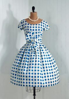 white w/ blue polka dots '50's dress